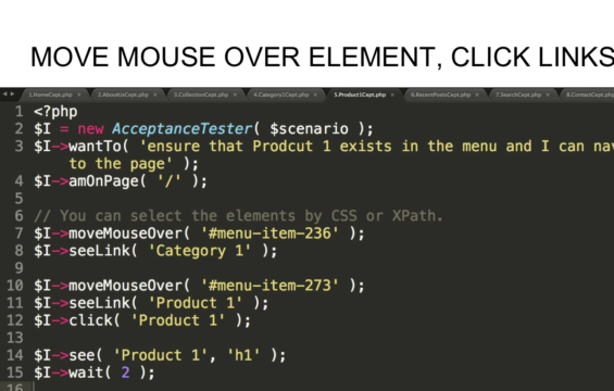 MOVE MOUSE OVER ELEMENT, CLICK LINKS