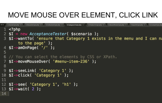 MOVE MOUSE OVER ELEMENT, CLICK LINK