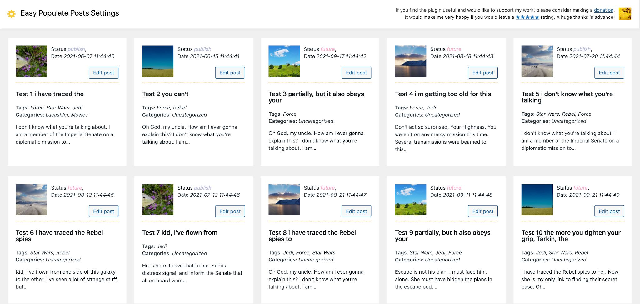 Easy Populate Posts Generated Content Preview